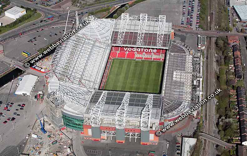 aerial photograph of Old Trafford Football Stadium Manchester  England UK