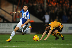 Matt Taylor of Bristol Rovers capitalises on a mistake by Greg Taylor of Cambridge United - Mandatory byline: Dougie Allward/JMP - 07966 386802 - 30/10/2015 - FOOTBALL - The Abbey Stadium - Cambridge, England - Cambridge United v Bristol Rovers - Sky Bet League Two