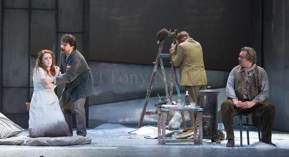 06/09/2012. Welsh National Opera present Puccini's La Boheme at the Wales Millennium Centre, Cardiff. Featuring Giselle Allen as Mimi, Alex Vicens as Rodolfo, David Kempster as Marcello and Kate Valentine as Musetta.
