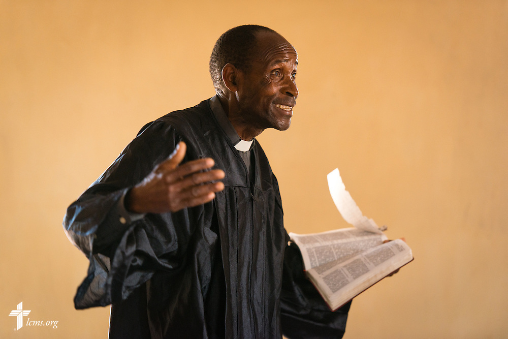 The Rev. Humphrey Nyirenda, central diocese pastor of the Confessional Lutheran Church–Malawi Synod, preach in worship on Saturday, Sept. 26, in Embangweni, Malawi. LCMS Communications/Erik M. Lunsford
