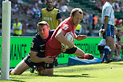 Twickenham, United Kingdom. 3rd June 2018, HSBC London Sevens Series. Game 27 Trophy Quarter Final. Russia vs Scotland<br /> <br />  Russian, Marcos POGGI, touches, down in the corner , Rugby7's played at the  RFU Stadium, Twickenham, England, <br /> <br /> <br /> <br /> © Peter SPURRIER/Alamy Live News