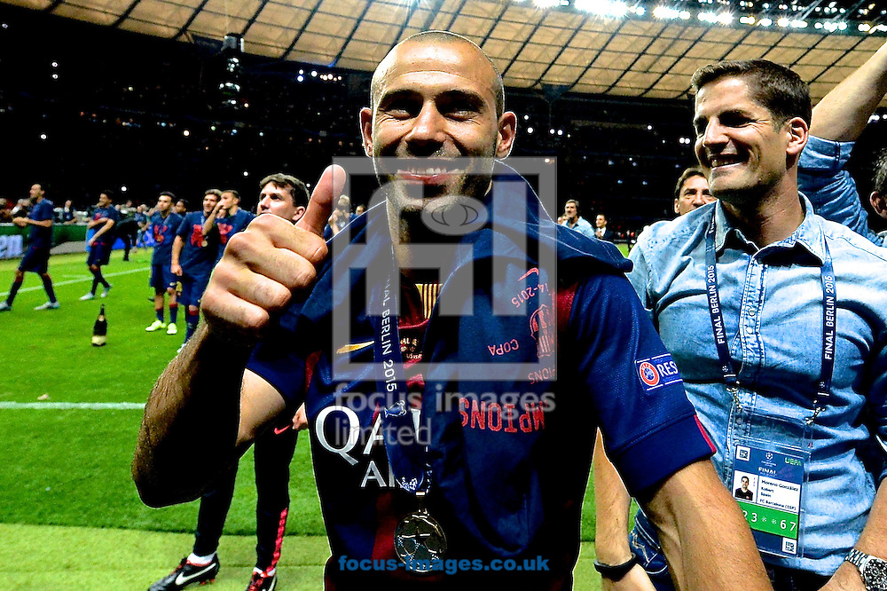 Javier Mascherano of FC Barcelona celebrates following the UEFA Champions League Final at Olympiastadion Berlin, Charlottenburg-Wilmersdorf<br /> Picture by Ian Wadkins/Focus Images Ltd +44 7877 568959<br /> 06/06/2015