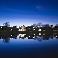 Emsworth mill pond at dusk. Hampshire.<br /> Picture date: Wednesday November 30, 2016.<br /> Photograph by Christopher Ison &copy;<br /> 07544044177<br /> chris@christopherison.com<br /> www.christopherison.com