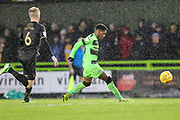 Forest Green Rovers Reece Brown(10) plays the ball forward during the EFL Sky Bet League 2 match between Forest Green Rovers and Mansfield Town at the New Lawn, Forest Green, United Kingdom on 15 December 2018.