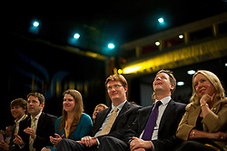 © London News Pictures. 24/09/2012. Brighton, UK.  L to R - Jo Swinson MP, Danny Alexander MP,  Liberal Democrat Leader Nick Clegg and Lorely Burt MP listening to  Business Secretary, Vince Cable deliver his speech on day 3 of the Liberal Democrat Conference on September 24, 2012. Photo credit : Ben Cawthra/LNP.