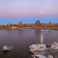 Full moon rises through twilight colored sky above tufas at south Mono Lake. Near Lee Vining, California