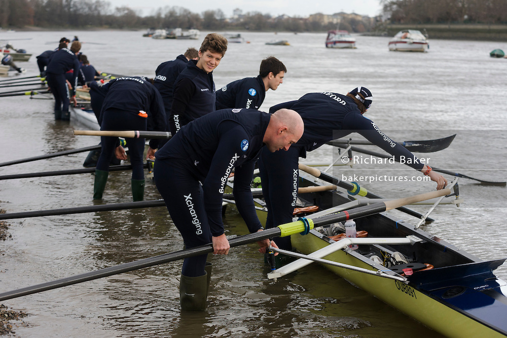 The Australian born Oxford University veteran rower James Ditzell helps prepare his boat for the team, many of whom are only 19. At 45 James is currently the oldest ever rower in the history of the boat race. He trains with the rest of his squad on the Thames from Putney in West London under race conditions, hoping that as race day (April 6th 2012), his times are good enough for a seat in one of two of Oxford boats. First raced in 1829 the boat race between Oxford and Cambridge unbiversities is one of the oldest sporting events in the world. It is nowadays watched by thousands along the banks of The Thames Tideway, between Putney and Mortlake in London and by millions more on TV around the world.
