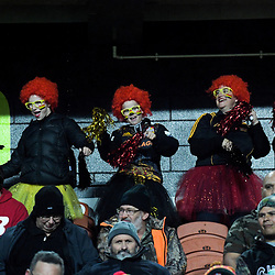 Fans dance in the grandstand before the Super Rugby match between the Chiefs and Hurricanes at FMG Stadium in Hamilton, New Zealand on Friday, 13 July 2018. Photo: Dave Lintott / lintottphoto.co.nz