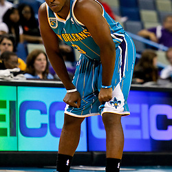 October 9, 2010; New Orleans, LA, USA; New Orleans Hornets point guard Chris Paul (3) on the court during the first quarter of a preseason game against the Memphis Grizzlies at the New Orleans Arena. Mandatory Credit: Derick E. Hingle