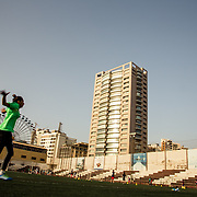 Reine Alameh, GFA and Lebanon national team gol keeper, training at Nejmeh Stadium in Beirut