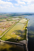 Nederland, Zeeland, Oosterschelde, 09-05-2013; inlagen ten zuiden van Serooskerke. Landinwaarts zijn polders onder water gezet in het kader van Plan Tuureluur. Rechts(onder) de Oosterschelde.<br /> <br /> QQQ<br /> luchtfoto (toeslag op standard tarieven);<br /> aerial photo (additional fee required);<br /> copyright foto/photo Siebe Swart.