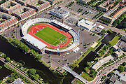 Nederland, Noord-Holland, Amsterdam, 14-06-2012; Stadionplein met Olympisch Stadion en Citroen garage, IJsbaanpad onder in beeld...The former Olympic Stadium (1928) in the South of Amsterdam, in a residential area..luchtfoto (toeslag), aerial photo (additional fee required).foto/photo Siebe Swart