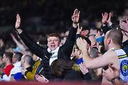 A Leeds United fan taunts the West Brom fans during the EFL Sky Bet Championship match between Leeds United and West Bromwich Albion at Elland Road, Leeds, England on 1 March 2019.