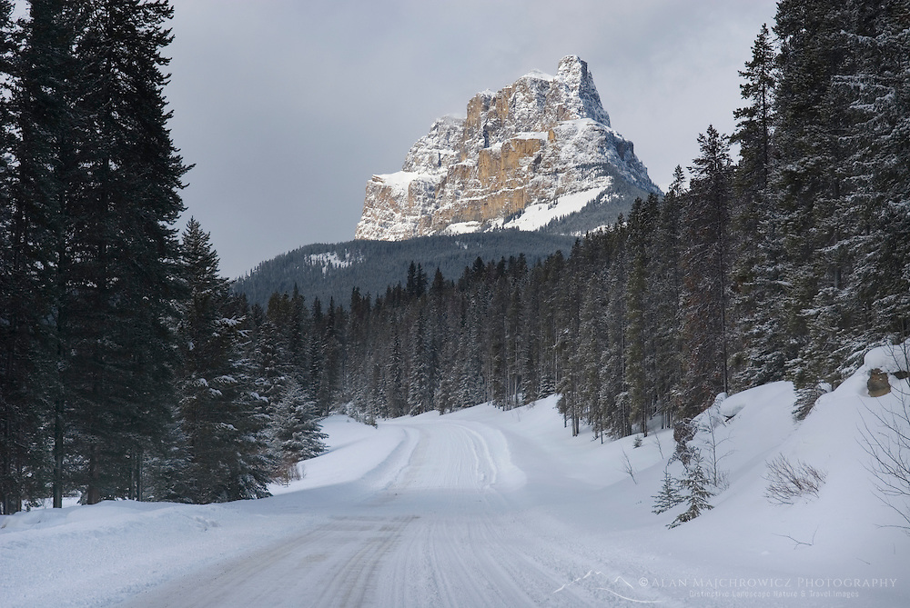 Snow covered Bow Valley Parkway and Castle Mountain, Banff National Park Alberta Canada