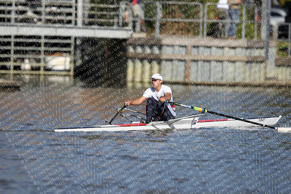 29.09.2012. Wallingford Long Distance Sculls 2012, The River Thames. Division 1. Nov 1x. Pangbourne College Boat Club.