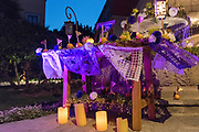 An altar decorated with paper flowers and candles on a fountain celebrating El Viernes de Dolores during Holy Week at the Rosewood Hotel March 23, 2018 in San Miguel de Allende, Mexico. The event honors the sorrow of the Virgin Mary for the death of her son and is an annual tradition in central Mexico.