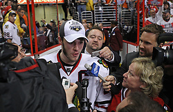 June 9, 2010; Philiadelphia, PA; USA;  Chicago Blackhawks center Jonathan Toews is interviewed by members of the media after the Blackhawks defeated the Flyers 4-3 in Game 6 of the Stanley Cup Finals at the Wachovia Center.
