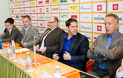 At right: Saso Filipovski, head coach of Union Olimpija and Zmago Sagadin, head coach of Helios Slovan during press conference of Slovenian basketball Champions League 2011/12 before Semifinal and Final games, on May 4, 2012 in Hotel City, Ljubljana, Slovenia.  (Photo by Vid Ponikvar / Sportida.com)