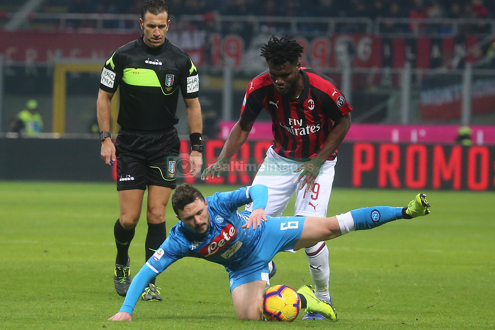 January 26, 2019 - Milano, Italy, Italy - Milano, Lombardia, Italy, 2019-01-26,San siro stadium, Serie A football match AC Milan - SSC Napoli in pictures M‡rio Rui defender SSC Napoli competition the ball with Franck Kessie  (Credit Image: © Antonio Balasco/Pacific Press via ZUMA Wire)