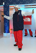 Tom Wallisch, U.S. Freeskiing hopeful, debuts the official men's slopestyle U.S. Freeskiing Competition Uniform designed and manufactured by The North Face, Monday, October 28, 2013, in New York. (Photo by Diane Bondareff/Invision for The North Face/AP Images)