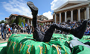 CAPE TOWN, SOUTH AFRICA - OCTOBER 15 2015, Anaso Jobodwana, World 200m bronze medallist, has a good laugh during the Springbok 7's Try Dive competition at the University of Cape Town's Jameson Plaza for the Cape Town 7s taking place at Cape Town Stadium on12&amp;13 December 2015.<br /> Photo by Roger Sedres/ImageSA