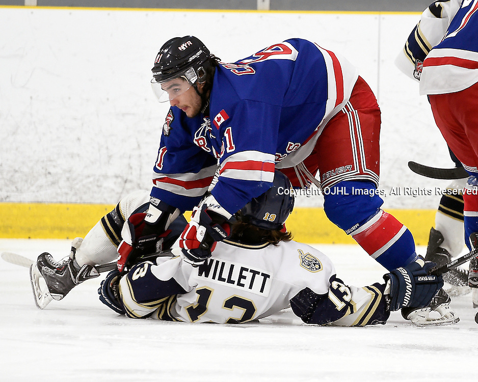 TORONTO, ON - Mar 19 : OJHL South West Conference playoff series round two, Toronto Lakeshore Patriots vs North York Rangers, Tye Campbell #61 of the North York Rangers makes the hit on Brandon Willett #13 of the Toronto Lakeshore Patriots during first period game action.<br /> (Photo by Andy Corneau / OJHL Images)