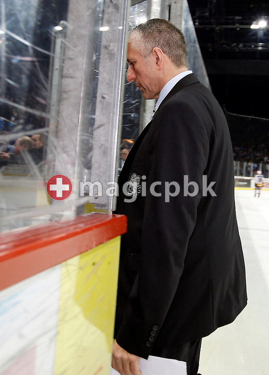 ZSC Lions head coach Bob Hartley on his way to the locker room after the second third during ice hockey game four of the Swiss National League A (Season 2011-2012) Playoff Final between ZSC Lions (ZSC) and SC Bern (SCB) held at the Hallenstadion in Zurich, Switzerland, Monday, April 9, 2012. (Photo by Patrick B. Kraemer / MAGICPBK)