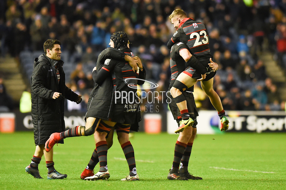 Edinburgh players celebrate winning the Guinness Pro 14 2017_18 match between Edinburgh Rugby and Glasgow Warriors at Murrayfield, Edinburgh, Scotland on 23 December 2017. Photo by Kevin Murray.