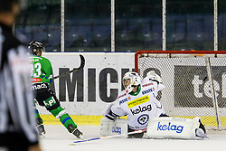 13.09.2015, Hala Tivoli, Ljubljana, SLO, EBEL, HDD Telemach Olimpija Ljubljana vs EC VSV, 2. Runde, in picture Jure Sotlar (HDD Telemach Olimpija, #33) and Jean-Philippe Lamoureux (EC VSV, #1) during the Erste Bank Icehockey League 2. Round between HDD Telemach Olimpija Ljubljana and EC VSV at the Hala Tivoli, Ljubljana, Slovenia on 2015/09/13. Photo by Urban Urbanc / Sportida