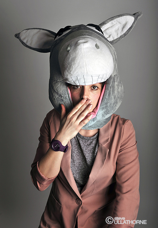 "Bridget Christie. Poster shoot ""War Donkey"""