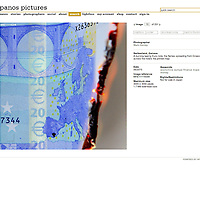 Screen grab of photograph of Euro note burning for sale on website of agent Panos Pictures. For exhibition 'Money' at Pavillon Carré de Baudouin in Paris. The commission involves attempting to increase the value of a 20 Euro note. This submission explores the possibility of photography to add value in the present climate.