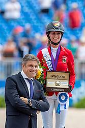 BLUM Simone (GER)<br /> Tryon - FEI World Equestrian Games™ 2018<br /> Siegerehrung / Medaillenvergabe<br /> FEI World Individual Jumping Championship<br /> Third cometition - Round B<br /> 3. Qualifikation Einzelentscheidung 1. Runde<br /> 23. September 2018<br /> © www.sportfotos-lafrentz.de/Stefan Lafrentz