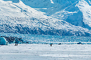 Three fatbike riders out on the glacier lake.  3-21-2017
