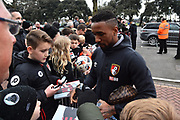 Jermain Defoe (18) of AFC Bournemouth signing autographs on arrival before the Premier League match between Bournemouth and Tottenham Hotspur at the Vitality Stadium, Bournemouth, England on 11 March 2018. Picture by Graham Hunt.