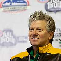 GAINESVILLE, FL - MAR 10, 2011:  Funny Car Champion, John Force (1), takes questions during a press conference for the Tire Kingdom Gatornationals race at the Gainesville Raceway in Gainesville, FL.