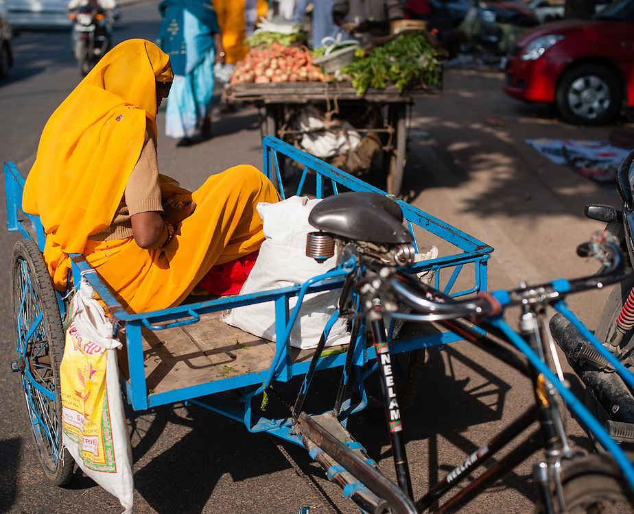 Indian woman sat on bicycle cart (India)