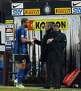 "Adriano celebrates scoring with Jose Mourinho. Milano 15/2/2009 Stadio ""Giuseppe Meazza"".Campionato Italiano Serie A.Inter Milan."