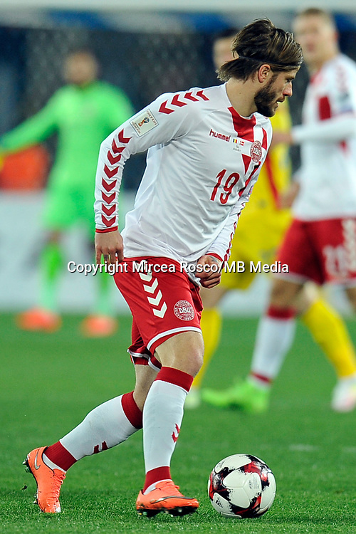 CLUJ-NAPOCA, ROMANIA, MARCH 26: Denmark's national soccer player Lasse Schone controls the ball during the 2018 FIFA World Cup qualifier soccer game between Romania and Denmark, on March 26, at Cluj Arena Stadium, in Cluj-Napoca, Romania. (Photo by Mircea Rosca/Getty Images)