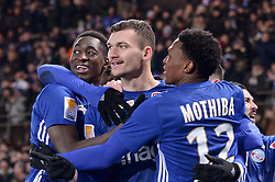 January 30, 2019 - Strasbourg, France - 18 IBRAHIMA SISSOKO (STRA) - 12 LEBO MOTHIBA (STRA) - 25 LUDOVIC AJORQUE (STRA) - JOIE (Credit Image: © Panoramic via ZUMA Press)