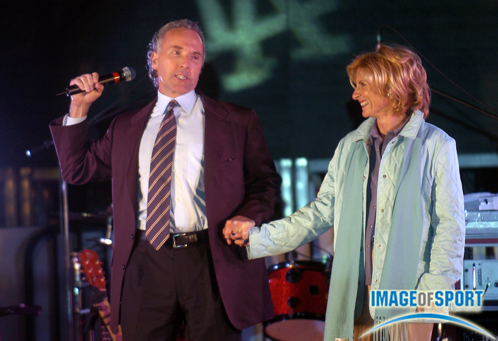 "Oct 4, 2004; Los Angeles, CA, USA; Los Angeles Dodgers owner Frank McCourt and wife Jamie at ""Rally Monday"" at The Grove. The inaugural event was held in conjunction with Major League Baseball in the cities of the eight teams vying for the 2004 World Series."
