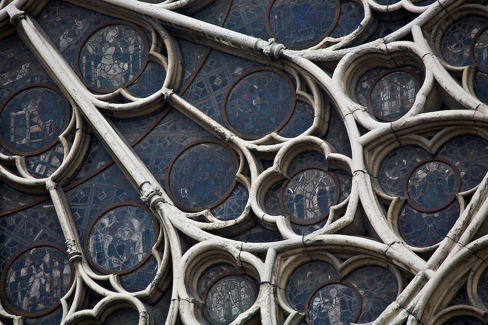 Detailed glass work from the South Side of Notre Dame Cathedral, Paris, France.
