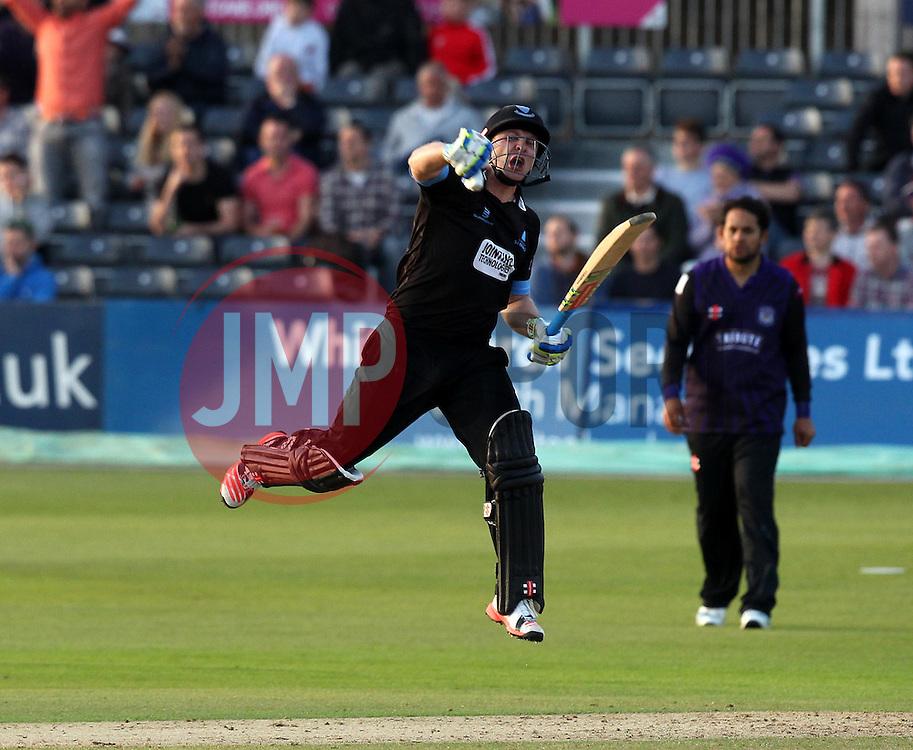 Sussex's Luke Wright celebrates hitting the winning runs - Photo mandatory by-line: Robbie Stephenson/JMP - Mobile: 07966 386802 - 26/06/2015 - SPORT - Cricket - Bristol - The County Ground - Gloucestershire v Sussex - Natwest T20 Blast