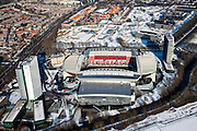 Nederland, Utrecht, Utrecht, 31-01-2010; Stadion Galgenwaard van voetbalclub FC Utrecht in de wijk Galgewaard,Bunnik site (r). Naast het stadion kantoor- en woontorens (Apollo Residence). .The renovated stadium of football club FC Utrecht, with newly-built appartment- and office towers..luchtfoto (toeslag), aerial photo (additional fee required).foto/photo Siebe Swart
