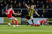 Burton Albion forward Mark Duffy is caught during the Sky Bet League 1 match between Burton Albion and Barnsley at the Pirelli Stadium, Burton upon Trent, England on 16 April 2016. Photo by Aaron  Lupton.