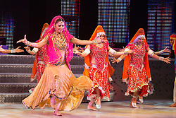 """© Licensed to London News Pictures. 29/01/2014. London, England. Picture: Carol Furtado dancing. The show """"The Merchants of Bollywood"""" returns to the Peacock Theatre/Sadler's Wells from 28 January to 15 February 2014. Photo credit: Bettina Strenske/LNP"""