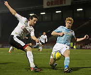 Picture by David Horn/Focus Images Ltd +44 7545 970036.15/01/2013.David Mooney of Leyton Orient and Paul McShane of Hull City during the The FA Cup match at the Matchroom Stadium, London.