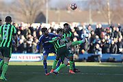 AFC Wimbledon midfielder Jake Reeves (8) and Curzon Ashton midfielder and captain Alex Brown (10) battle for possession during the The FA Cup match between Curzon Ashton and AFC Wimbledon at Tameside Stadium, Ashton Under Lyne, United Kingdom on 4 December 2016. Photo by Stuart Butcher.