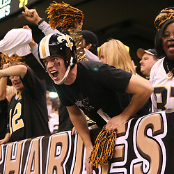 13 January 2007: A New Orleans Saints fans cheers from the stands during a 27-24 win by the New Orleans Saints over the Philadelphia Eagles in the NFC Divisional round playoff game at the Louisiana Superdome in New Orleans, LA. The win advanced the New Orleans Saints to the NFC Championship game for the first time in the franchise's history.