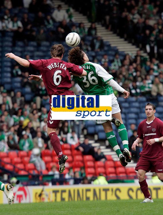 Photo: Tom Ross.<br />Hibernian v Hearts. Tennants Scottish Cup, Semi-Final. 02/04/2006.Andy Webster(L) and Abdessalam Benjelloun(R).