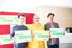 15.04.2019, Vinzi RAST, Wien, AUT, Die Grünen, AUT, Die Grünen, Unterstützungskomitee für Werner Kogler stellt sich vor. im Bild Die Unterstützer Sven Holuj, ehemalige Grüne Nationalratsabgeordnete Terezija Stoisits und Kabarettist Leo Lukas // during media conference of supporter of the Green party for European Elections in Vienna, Austria on 2019/04/15. EXPA Pictures © 2019, PhotoCredit: EXPA/ Michael Gruber